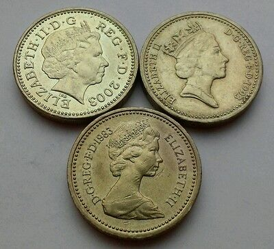 Great Britain,UK 1 Pound 1983,1993,2003. KM#933/964/993. One Dollar coin. E·II·