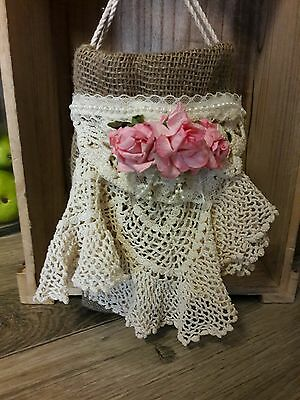 Rustic wedding  dollar dance bridal money bag with pink flowers, vintage dollies