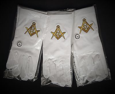 White Masonic Gloves with Gold embroidered Square and Compasses