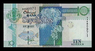 Seychelles  10 Rupees 1998 Aa Pick # 36 Unc Banknote.