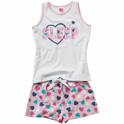 Cozy n Dozy Older Girls I Love Sleep Heart Print Vest Top Shortie Pyjamas Coral