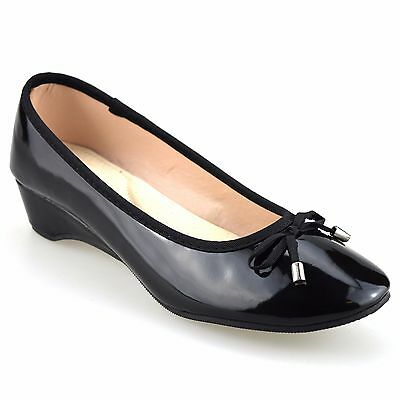Ladies Womens Mid Low Wedge Heel Leather Smart Work Pumps Party Court Shoes Size