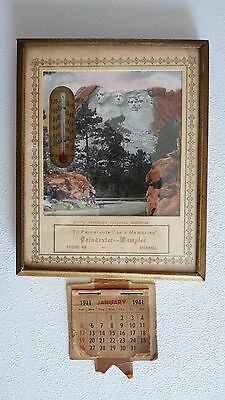 1941 Advertising Thermometer and Calendar Poindexter - Wampler Funeral home
