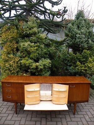 Teak 1960s Mid Century Modern FOLD OUT Cocktail Cabinet Bar Sideboard Credenza
