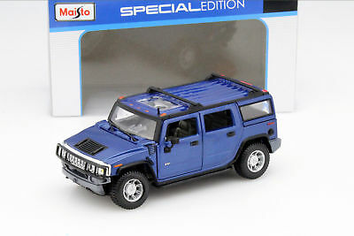 2003 Hummer H2 SUV Blue Maisto Diecast Car Collection Model 1/27