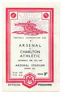 Arsenal v Charlton Ath., 1948/49 - Football Combination Cup (Reserves) Programme