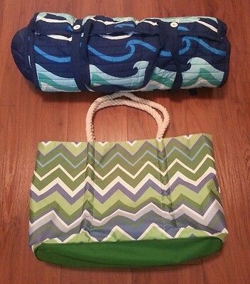 Colorful Beach Bag and Beach Mat with Pillow