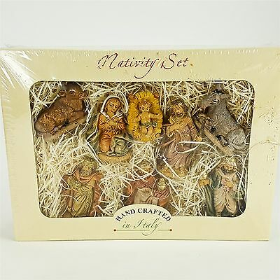 Euromarchi Hand Crafted Italy Nativity 8pc Figurine Set Christmas Display NEW