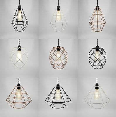 Modern Industrial Black White Copper Metal Cage Wire Pendant Light Chandelier