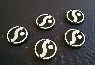 X-Wing Miniatures compatible, acrylic evade tokens x 5