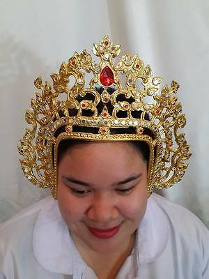 Traditional Thai Dance gold Costume HEADDRESS FRONT crown arts craft Ram TIARA