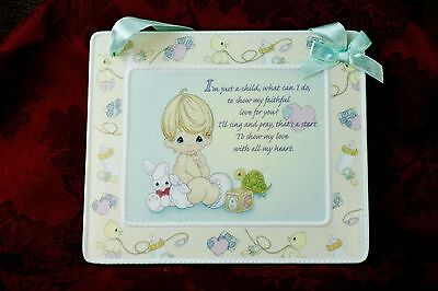 "Precious Moments Ceramic Love Baby Nursery Child Poem Wall Plaque Green 6.5"" BP"