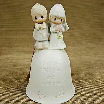 Precious Moments Wedding Bell Lord Bless Keep You Porcelain Bride Groom Figurine
