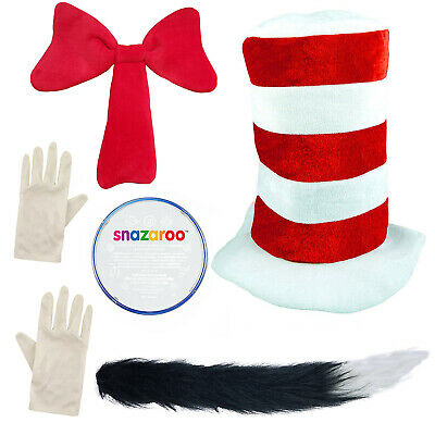 Childrens Adult Cat in the Hat Fancy Dress outfit Book Day Week Dr Seuss Costume