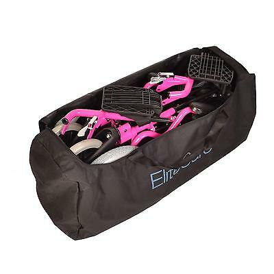 Pink Lightweight folding deluxe travel wheelchair in a bag with handbrakes