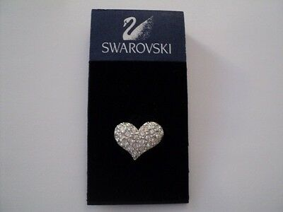 Signed Swan Swarovski Clear Pave Crystal Rhodium Plated Tack Pin