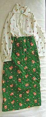 Adorable 1970s Vintage Girls Flower Quilted Dress Size 14