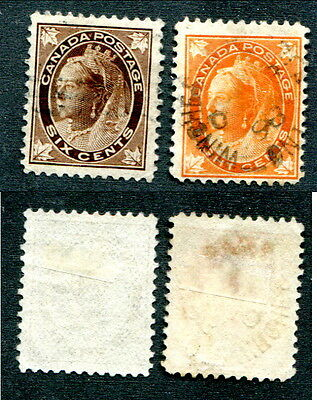 2 Used Canada Queen Victoria Leaf Stamps #71, 72 (Lot #6793)