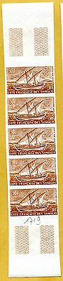 MNH Somali Coast Proof/Imperf Strip of 5 (Lot #scs65)