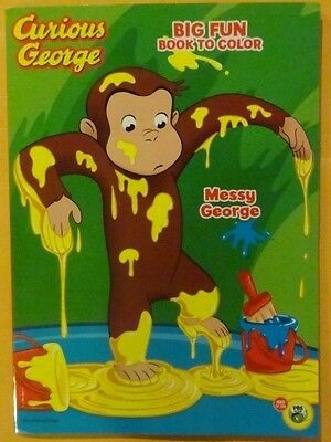 Curious George Big Fun Book To Color New FREE SHIPPING Messy George!