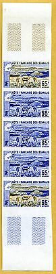 MNH Somali Coast Proof/Imperf Strip of 5 (Lot #scs9)