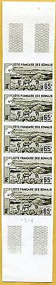 MNH Somali Coast Proof/Imperf Strip of 5 (Lot #scs23)