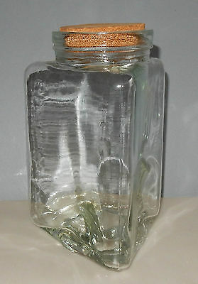 Vintage Large Clear Glass Triangular Jar Triangle Shaped Apothecary Storage