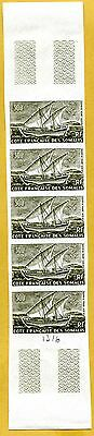 MNH Somali Coast Proof/Imperf Strip of 5 (Lot #scs68)