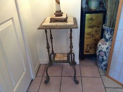Antique Victorian Onyx Marble Brass Table Plant Stand