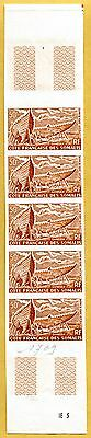 MNH Somali Coast Proof/Imperf Strip of 5 (Lot #scs51)