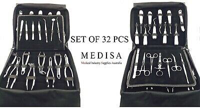 32 Pcs ESSENTIAL DENTAL SET EXTRACTION SURGERY EXTRACTING ELEVATORS FORCEPS