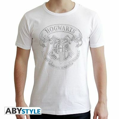 HARRY POTTER - Tshirt homme blanc new fit Poudlard Taille S