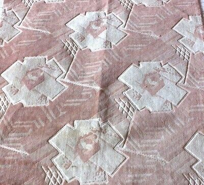 Antique Vintage French Silk Pink Art Deco Cut Velvet Fabric Textile c1920