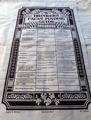 Vintage cotton tea towel hand printed Drinkers Fault Finding Guide Britain