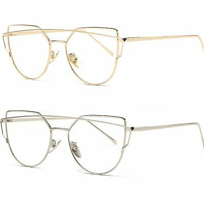 Womens Clear Lens Fashion Glasses Gold Frame