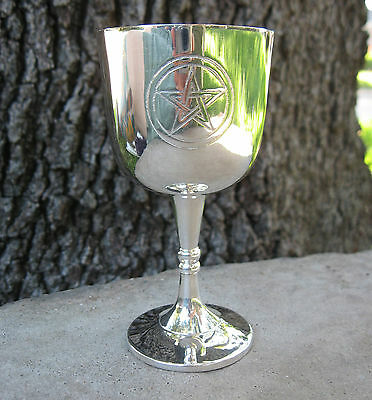 """Silver-Plated Mini Pentagram Chalice 4"""" Ritual Offering Cup Travel Altar Wicca"""