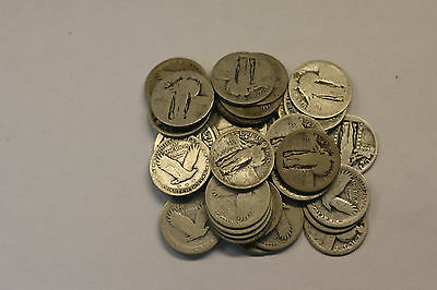 """(Roll of 40) """"No Date"""" Standing Liberty Quarters, Circulated Culls, """"Bullion"""""""