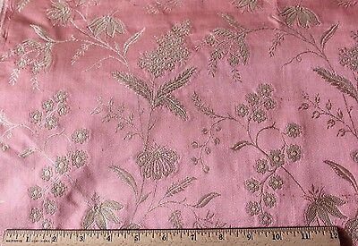 "Antique French Pink-Peach Lyon Silk c1920 Home Textile Fabric Sample~26""L X 24""W"