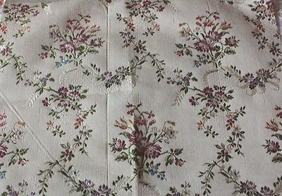 "Vintage Floral French Brocaded Satin Lampas Fabric Textile c1920-1930s~15""LX18""W"