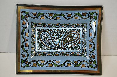 Vtg Paisley Gold Blue Green Reverse Painted Glass Trinket Pin Tray