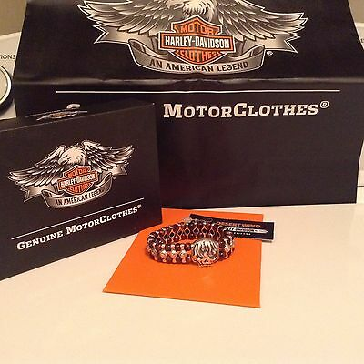HARLEY DAVIDSON THIERRY MARTINO COLLECTION SILVER SKULL BRACELET tiger eyes HDBR