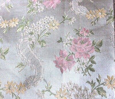 Vintage Shabby Roses & Lace Ribbons French Brocade Textile Fabric c1938