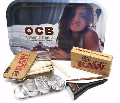 Raw Rolling Paper  Cone Tray Bundle W Grinder Raw Cone Loader And Ocb Tray