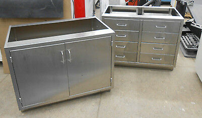 Lot Of 2 Under Counter Stainless Steel Storage Cabinets/drawers