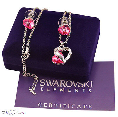 Collana Parure donna argento Swarovski Elements originale G4Love cristalli cuore