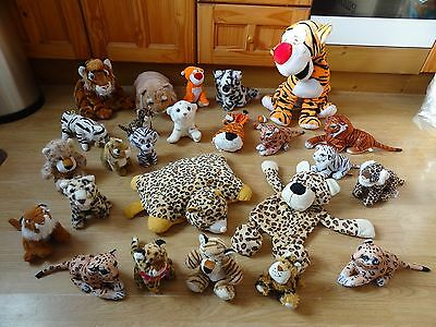 Bundle Of 25 Large & Small Plush Soft TIGERS & LEOPARDS 17 ins High max