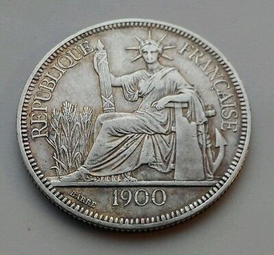 INDO-CHINA FRENCH 1 Piastre 1900. KM#5a.1. One Silver Dollar coin. Crown size.