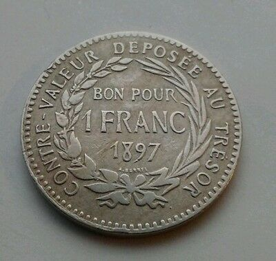MARTINIQUE 1 Franc 1897. KM#41. One Dollar coin. French Caribbean Colony.