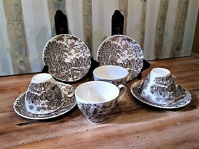 Vintage Johnson Brothers Stoke-on-Trent England Cotswold Tea Cups & Saucers LOT