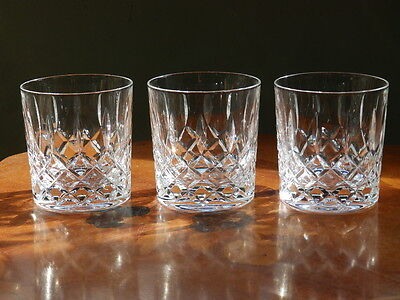 Set of three large crystal whisky glasses